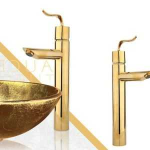 شیر روشویی پایه بلند مدل پالادیوم طلایی راسان